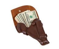 Banknoten im ledernen Pistolenhalfter Lizenzfreies Stockbild