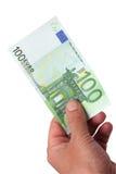 Banknoten in seiner Hand Stockbilder