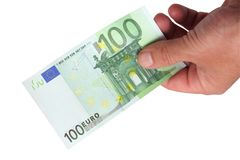 Banknoten in seiner Hand Lizenzfreie Stockfotos