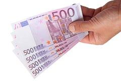 Banknoten in seiner Hand stockfotografie