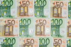 Banknoten 50 und Nahaufnahme des Euros 100 Lizenzfreies Stockfoto