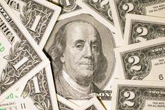 Banknoten $ 100, $ 2 und US $ 1 Stockfoto