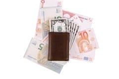 Banknoten unter Geldbörse Lizenzfreie Stockfotografie