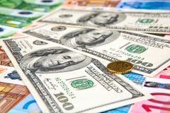 Banknoten von Euro und von Dollar Lizenzfreies Stockbild