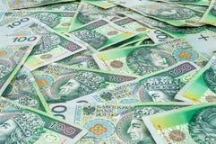 Banknoten von 100 PLN (polnischer Zloty) Stockbilder