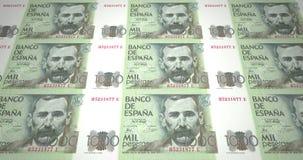 Banknoten von tausend spanischen Peseten von Spanien, Bargeld, Schleife lizenzfreie abbildung