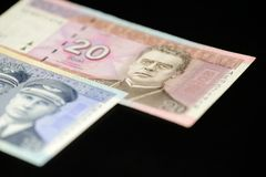 Banknoten von zehn und zwanzig litauischen litas auf einem dunklen Hintergrund Lizenzfreie Stockbilder