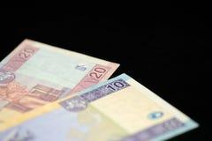 Banknoten von zehn und zwanzig litauischen litas auf einem dunklen Hintergrund Lizenzfreie Stockfotografie