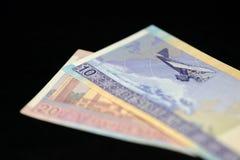 Banknoten von zehn und zwanzig litauischen litas auf einem dunklen Hintergrund Lizenzfreie Stockfotos