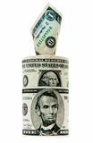 Banknotendollar auf weißem Hintergrund Stockfotos