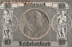 Banknotenfragment der Reichsmark 10, 1929 Lizenzfreie Stockfotografie