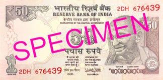 Banknotengegenstücck der indischen Rupie 50 Lizenzfreie Stockfotografie
