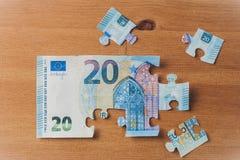 Banknotenpuzzlespiel des Euros 20 Stockfotos