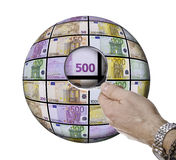 Banknotes. This image shows an area of banknotes seen through a magnifying glass Stock Photo