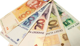 Banknotes. Images of banknotes of croatia Stock Photos