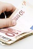 Banknotes. Close up to euro banknotes stock photo
