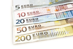Banknotes. Close up to euro banknotes Stock Images
