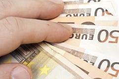Banknotes. Close up to euro banknotes stock image
