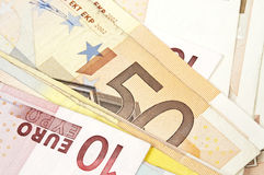 Banknotes. Background of many euro banknotes Royalty Free Stock Images