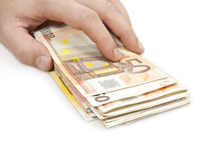 Banknotes. Close up to euro banknotes royalty free stock photos