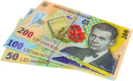 Banknotes. The Three Main Romanian Banknotes Isolated On White Stock Image