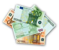 Banknotes of 50 and 100 EUR. On a white background Royalty Free Stock Image