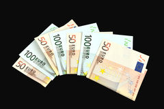 Banknotes 50 and 100 euro. Closeup on black background Stock Photo