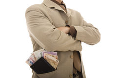 Banknotes. Bussiness men with many banknotes on his wallet Royalty Free Stock Photography