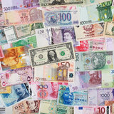 Banknotes from all over the world Royalty Free Stock Photos