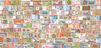 Banknotes from all over the world overlapping each other Royalty Free Stock Photo