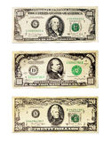 Banknotes of the American dollars face value 20, 100 and 1000 Royalty Free Stock Images