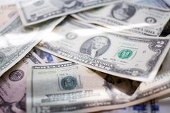 Banknotes american dollars, one hundred, fifty, twenty, two, one dollar, close up. Banknotes dollars, one hundred, fifty, twenty, two, one dollar, close up royalty free stock images
