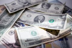 Banknotes american dollars, one hundred, fifty, twenty, two, one dollar, close up. Banknotes dollars, one hundred, fifty, twenty, two, one dollar, close up royalty free stock photography