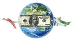 Banknotes Around Earth on White (Loop) stock video