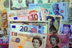 Banknotes from around the world Stock Images