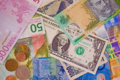 Banknotes from around the world stock photo