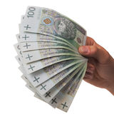 Banknotes as a fan in a hand Royalty Free Stock Image