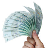Banknotes as a fan in a hand Stock Image