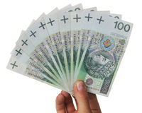Banknotes as a fan in a hand isolated Stock Image