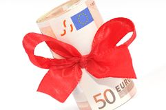 Banknotes as a gift Stock Images