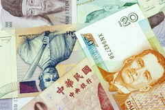 Banknotes of Asian countries. Stock Photos