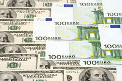 Banknotes background. Dollar and euro banknotes background stock photo