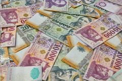 Banknotes Background, Hungarian Forints. Pile of banknotes as a background hungarian forint stock photography