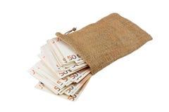 Banknotes bag full Royalty Free Stock Image