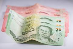 The banknotes. Is currency in Thailand Royalty Free Stock Photo