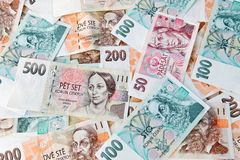 Banknotes and banknotes from the Czech Republic. Currency and banknotes from the Czech Republic in Europe Stock Photos