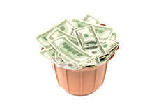 Banknotes in basket Royalty Free Stock Photos