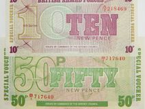 Banknotes British Armed Forces royalty free stock photo