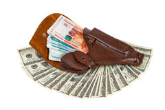 Banknotes in the leather holster Royalty Free Stock Images
