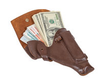 Banknotes in the brown leather holster Royalty Free Stock Photo